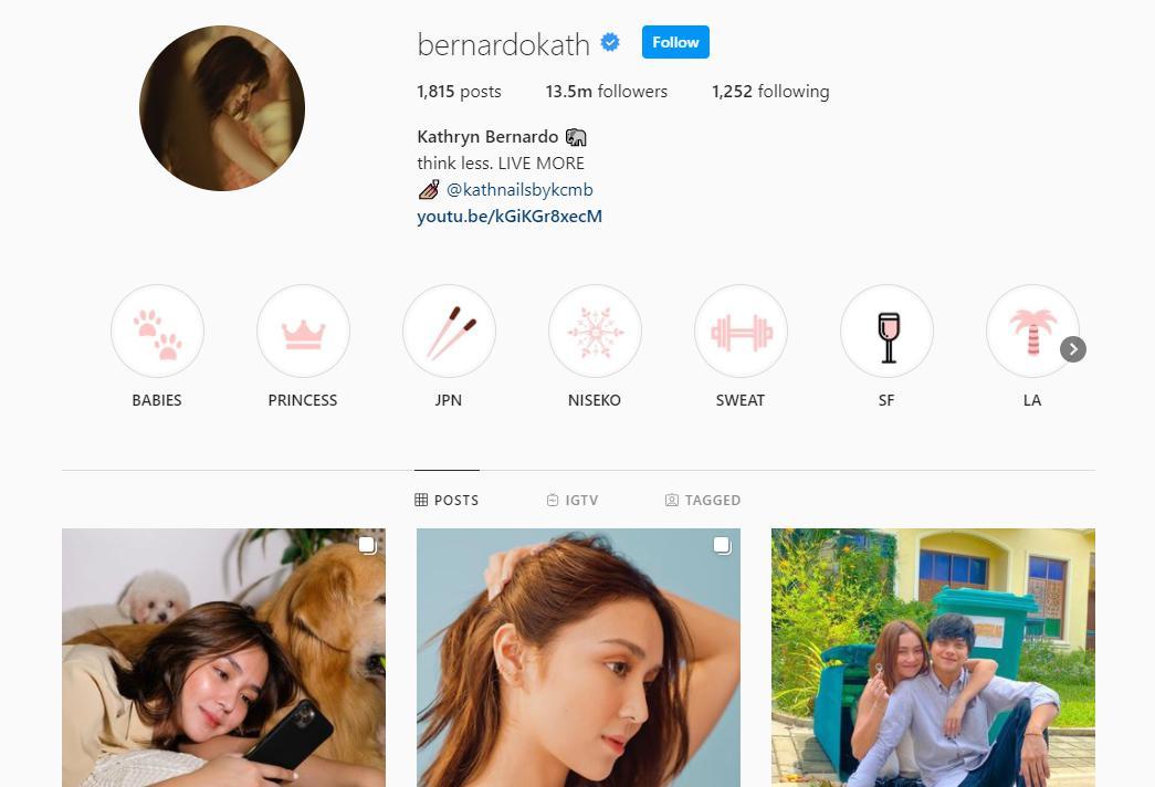Kathryn Bernado's Instagram profile