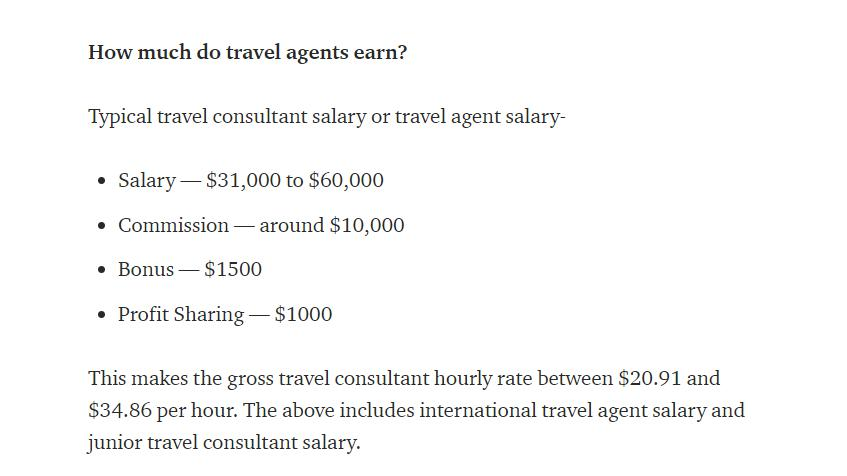 Travel consultant or agent salary