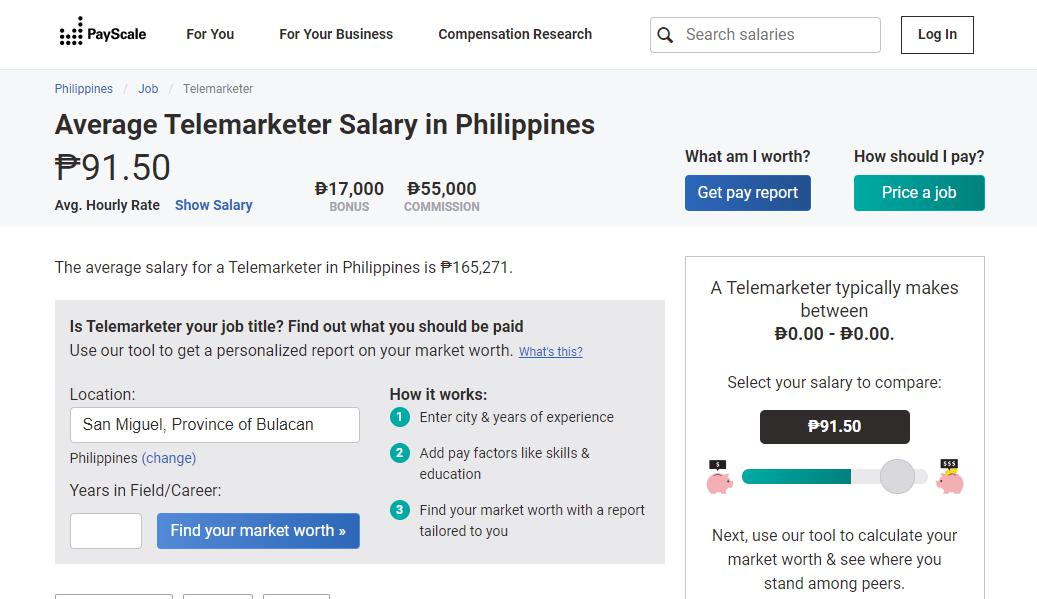 PayScale page