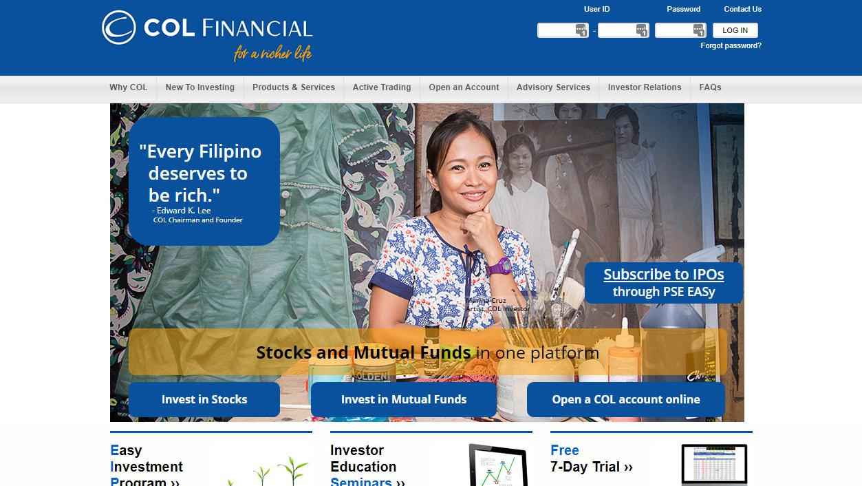 COLfinancial page