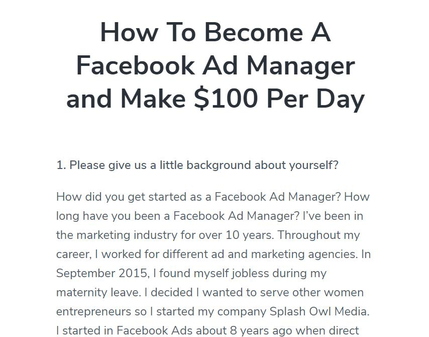 How to becaome a Facebook Ad Manager and Make $100 Per Day