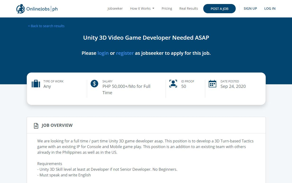 OnlineJobs page