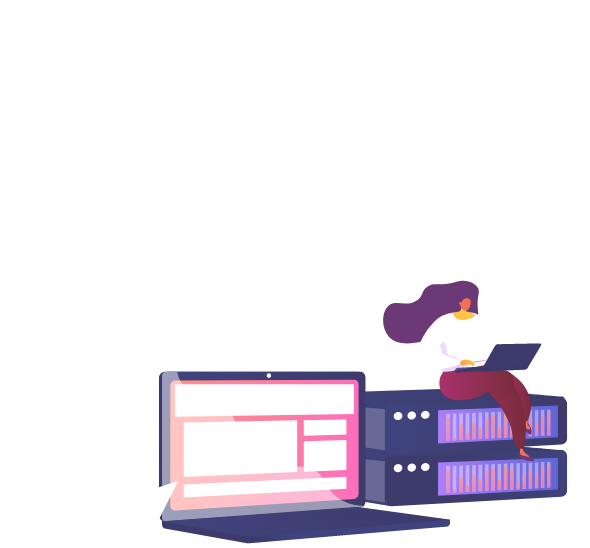 Laptop, WordPress icon, A woman sitting on a server while typing on laptop keyboard